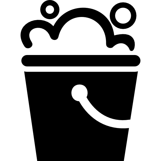 Clean vector mop bucket. With bubbles free other