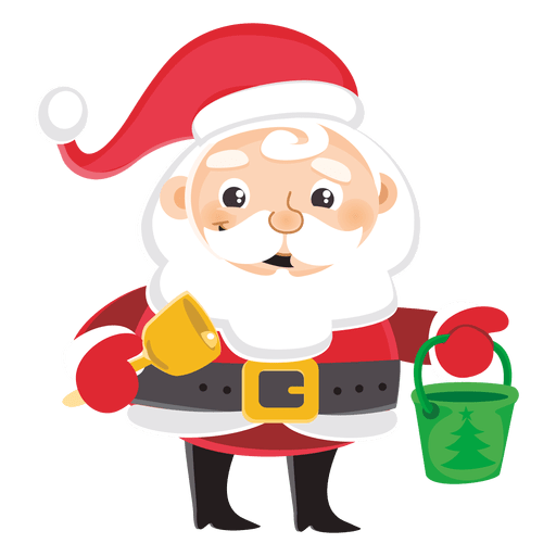 Vector santa angry. Cartoon carrying bell bucket