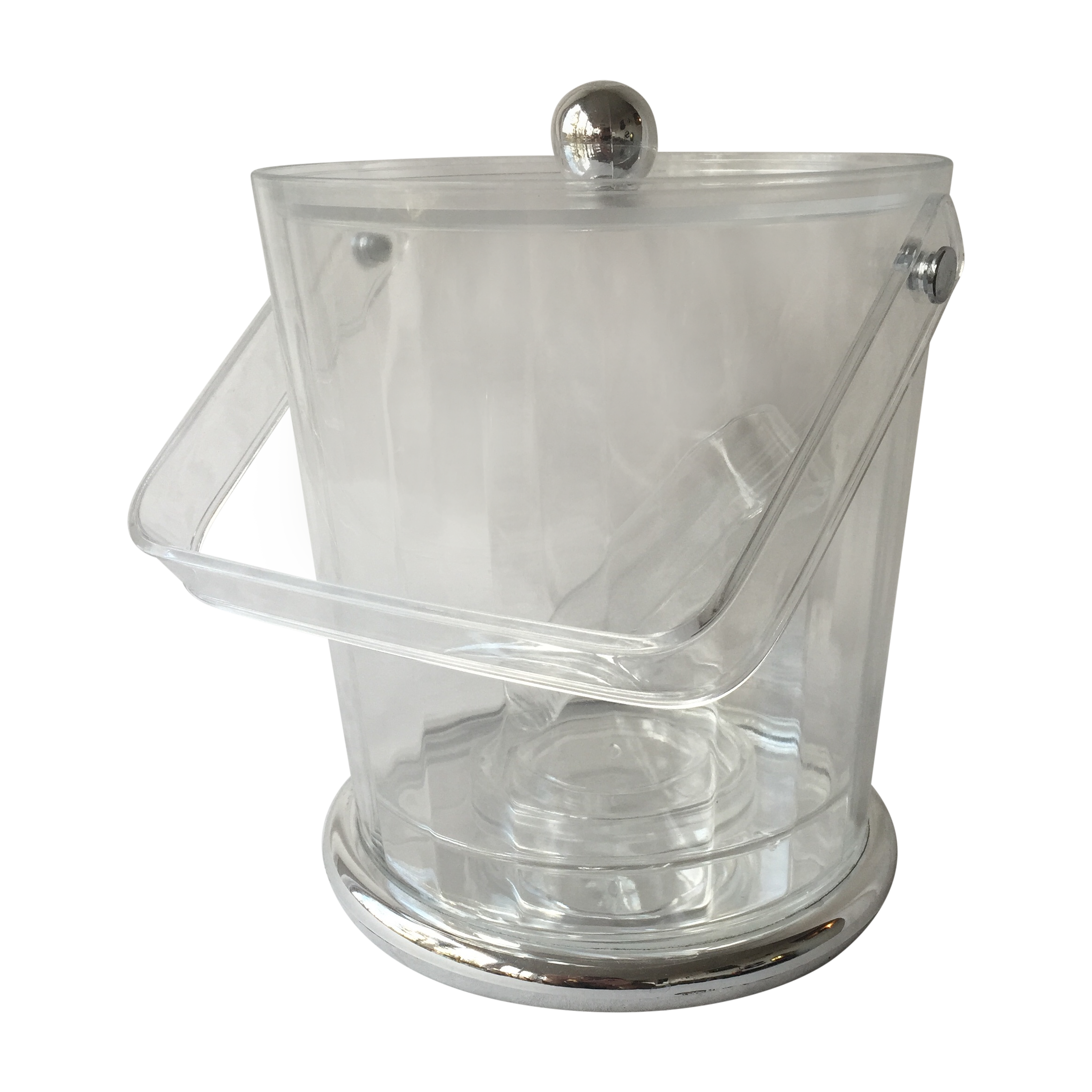 Bucket transparent clear acrylic. Silver ice w tongs