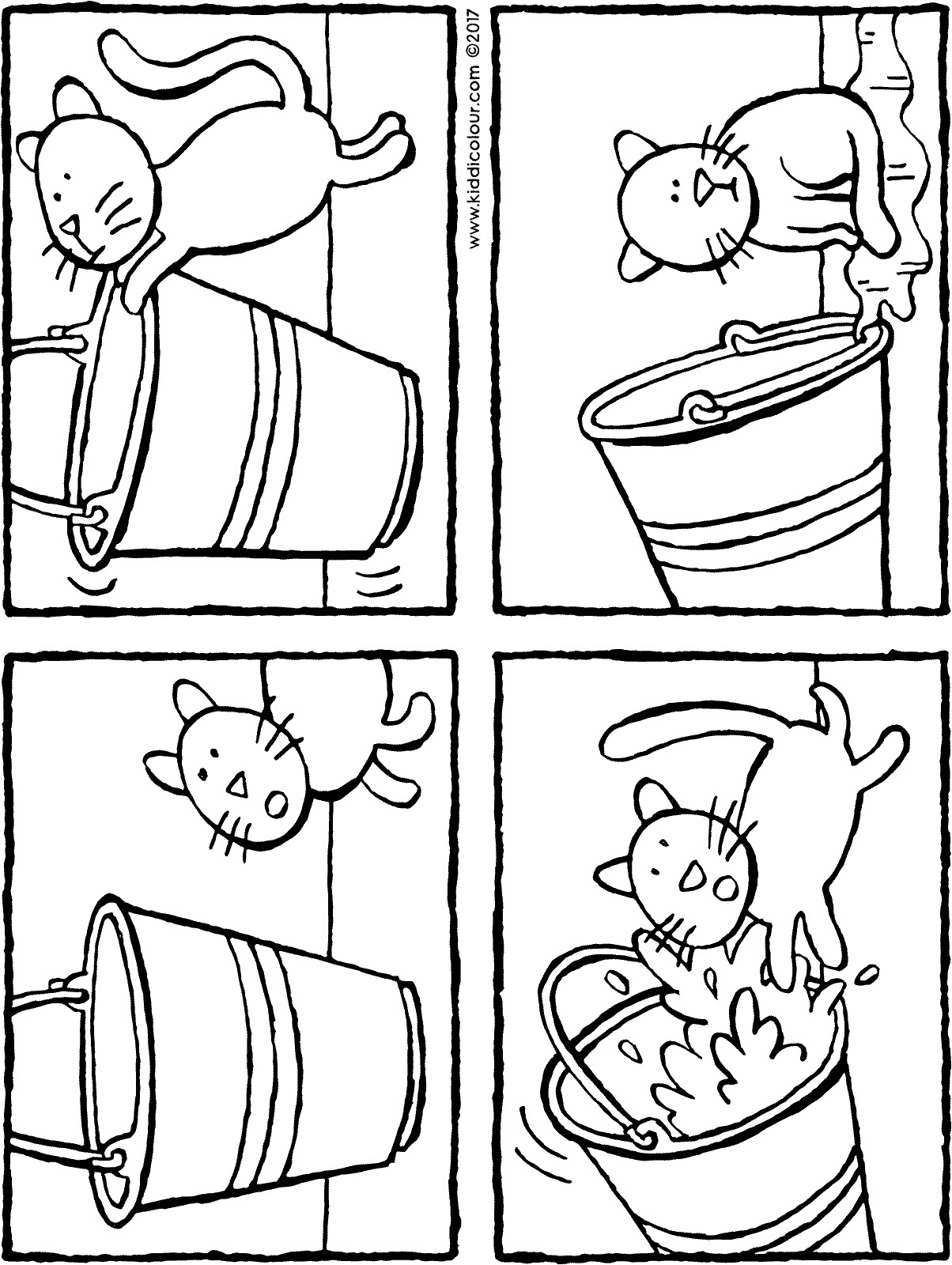 Bucket transparent colouring page. And cat kiddicolour story