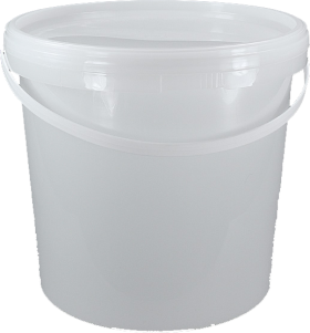 Bucket transparent plastic. White with lid and