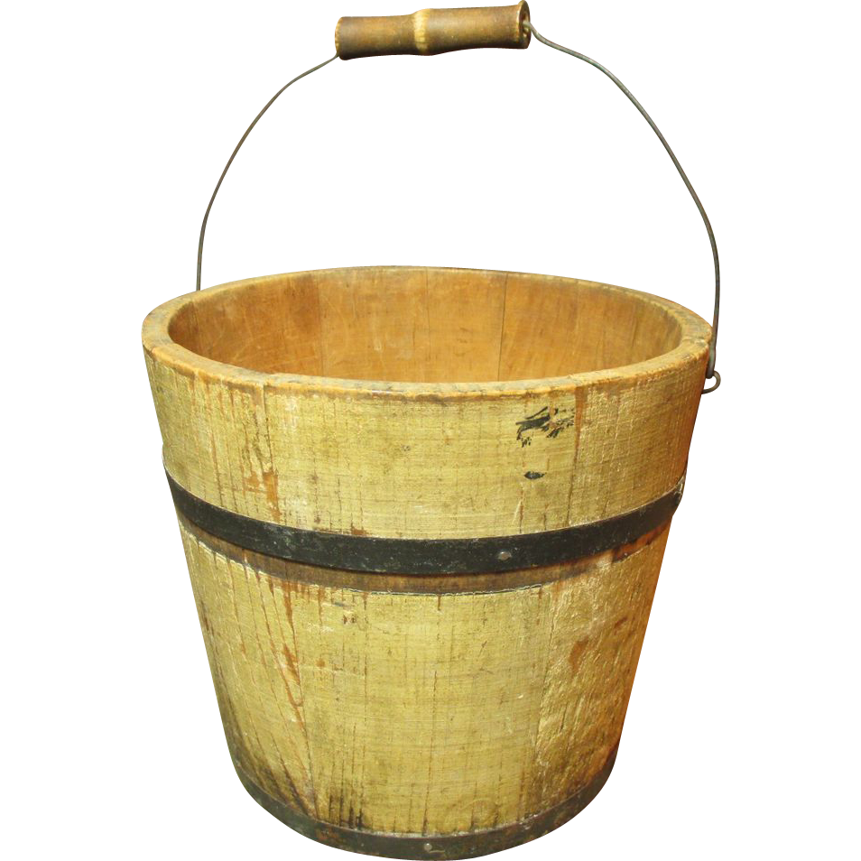 Bucket transparent wooden. Granny s little old