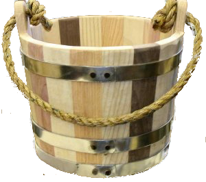Bucket transparent wooden. Bratcher cooperage gift silver