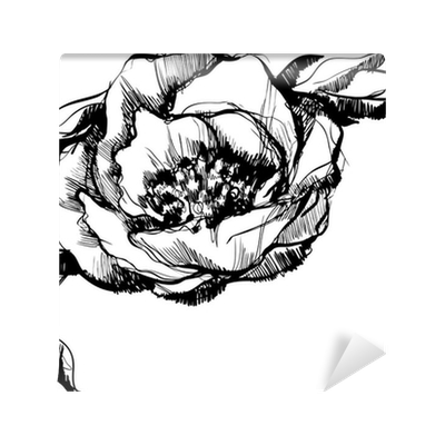 Bud drawing abstract. Sketch of flower peony