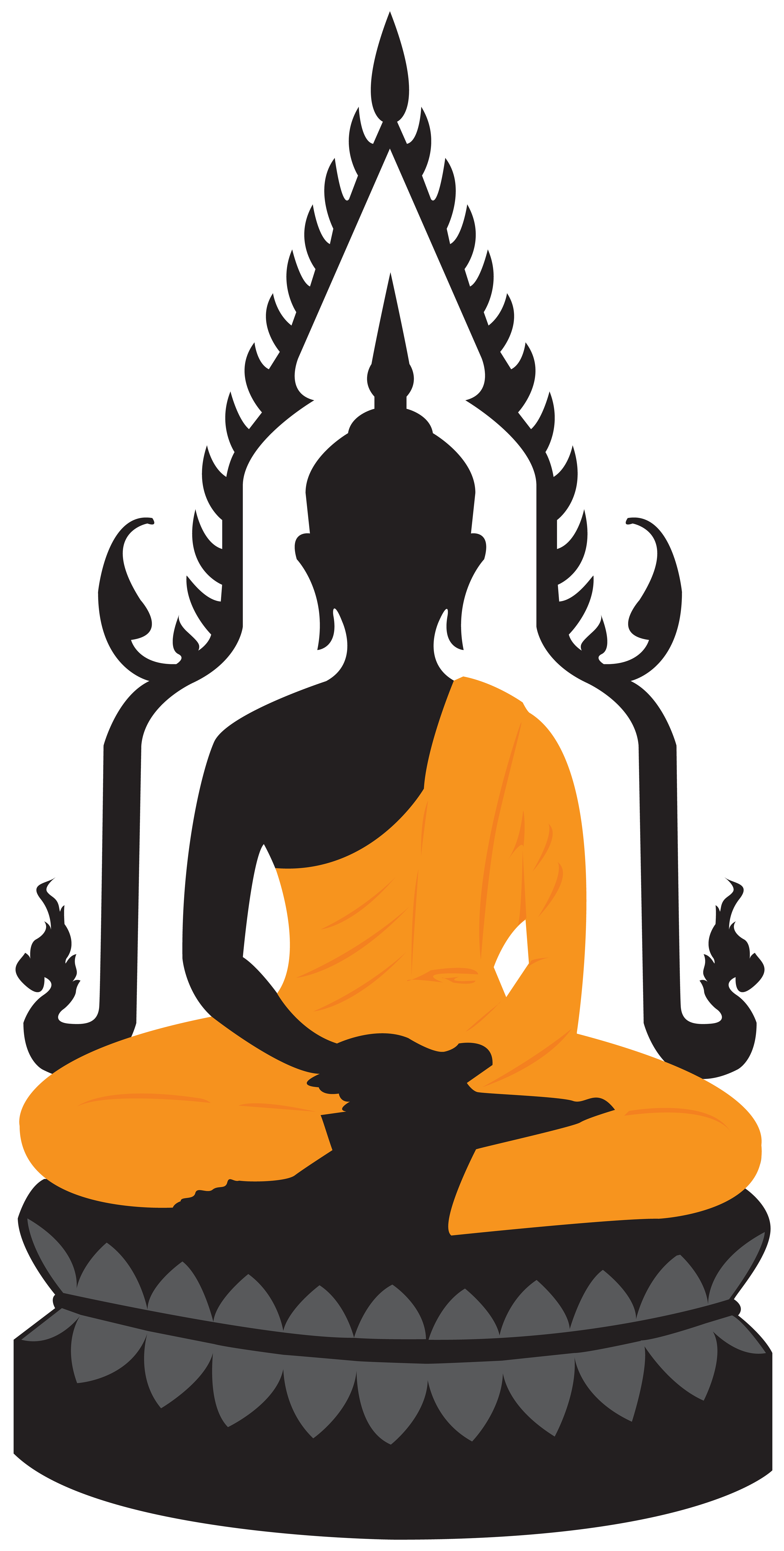 Lotus statue png clip. Buddha clipart graphic black and white stock
