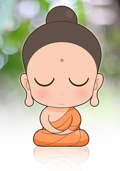 Buddha clipart cute. Illustration of young monk