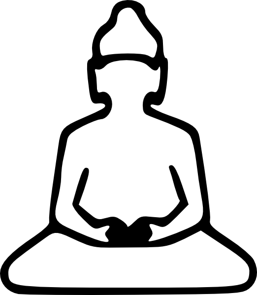 Outline clip art at. Buddha clipart easy draw jpg black and white download