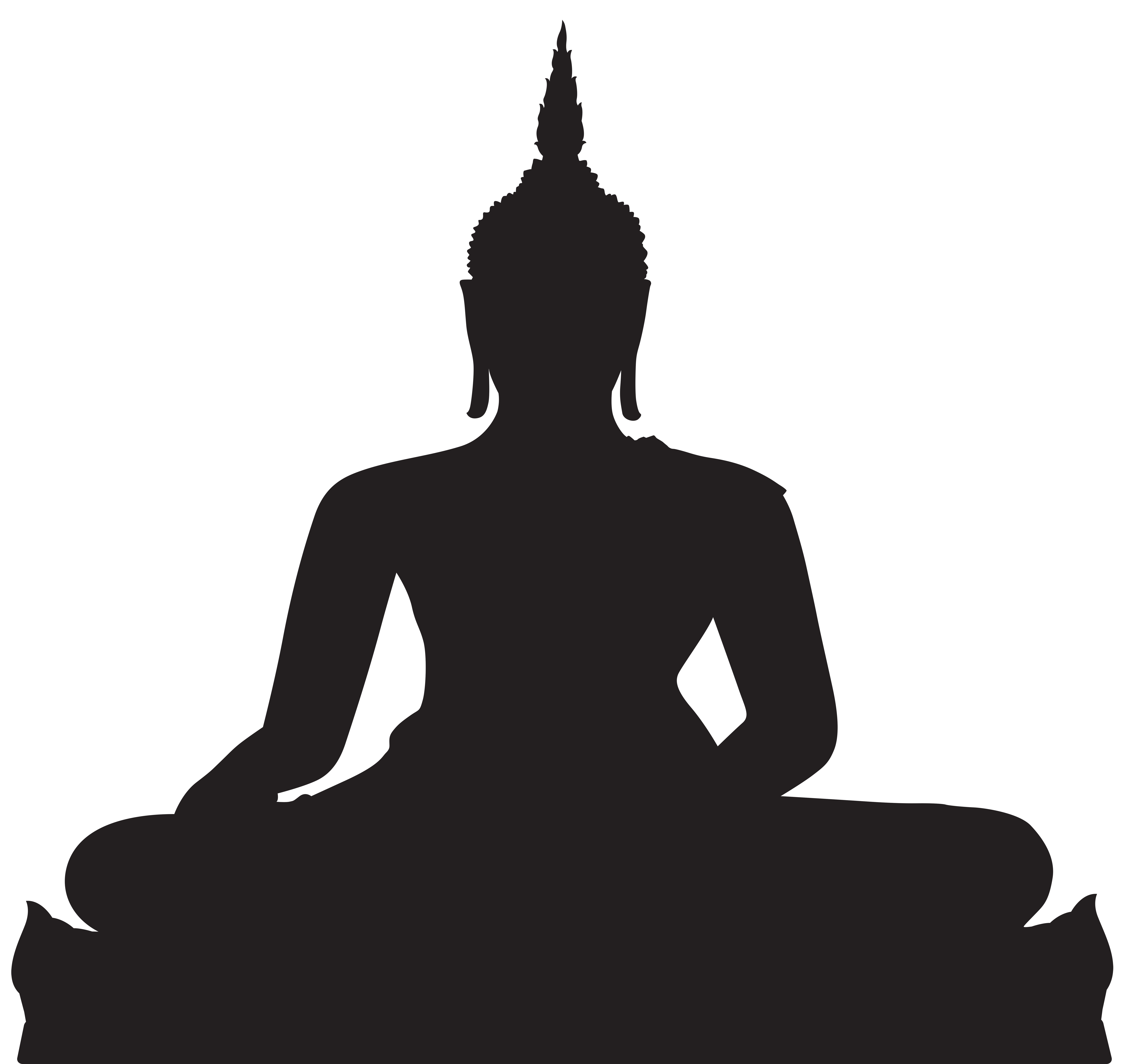 Black silhouette png clip. Buddha clipart vector library download