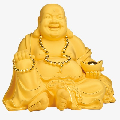 Buddha clipart yellow. Laughing golden statue antique