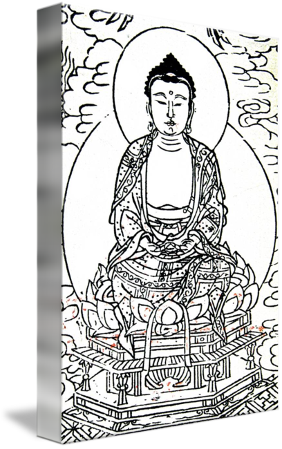 Buddhist drawing art. Monk on lotus by