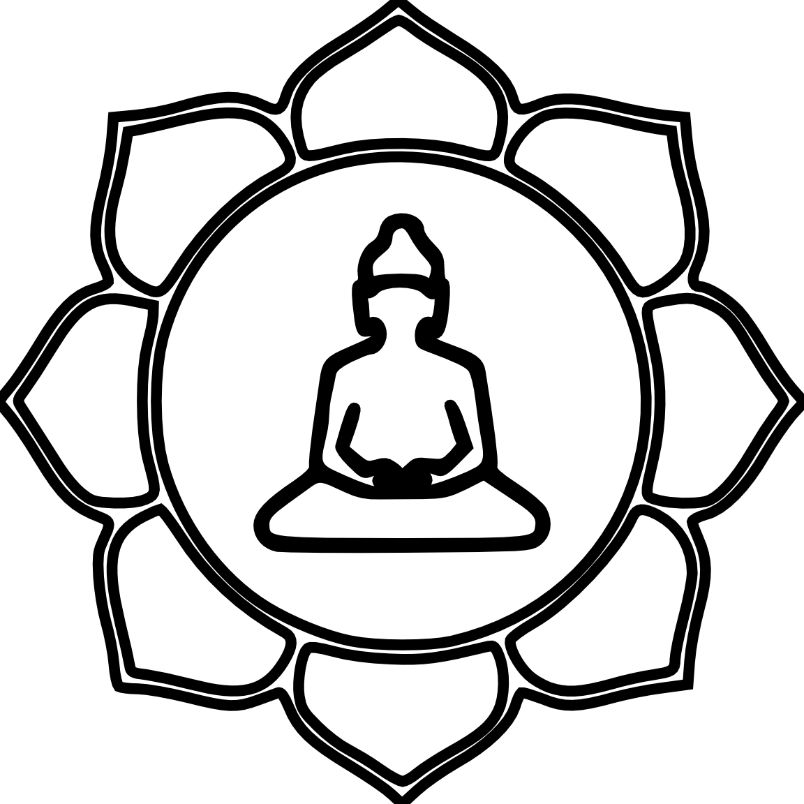 Flower color black white. Buddha clipart illustration vector free download