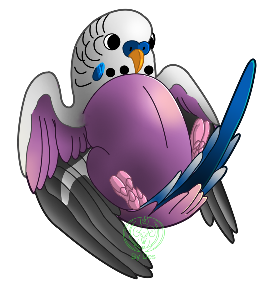 Budgie drawing english. Floating purple by thagirion
