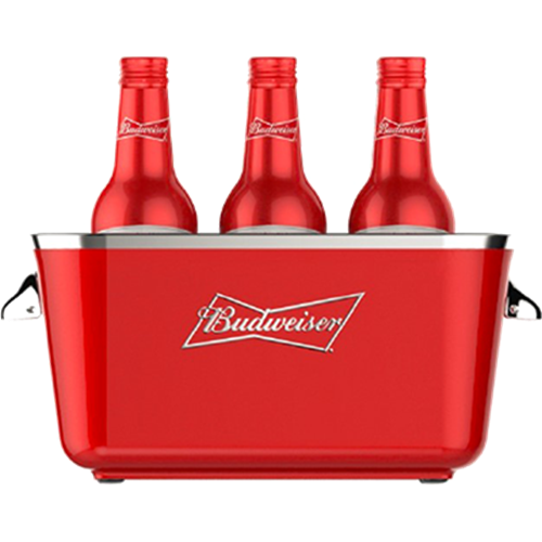Budweiser holiday crate png. Square red bucket the