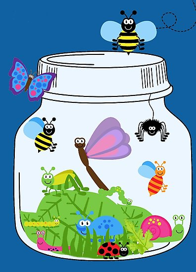 Bugs clipart jar. Cute insects in bug