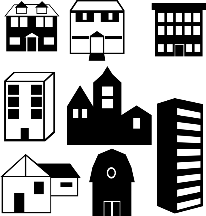 Building clipart architectural. Apartment silhouette house real