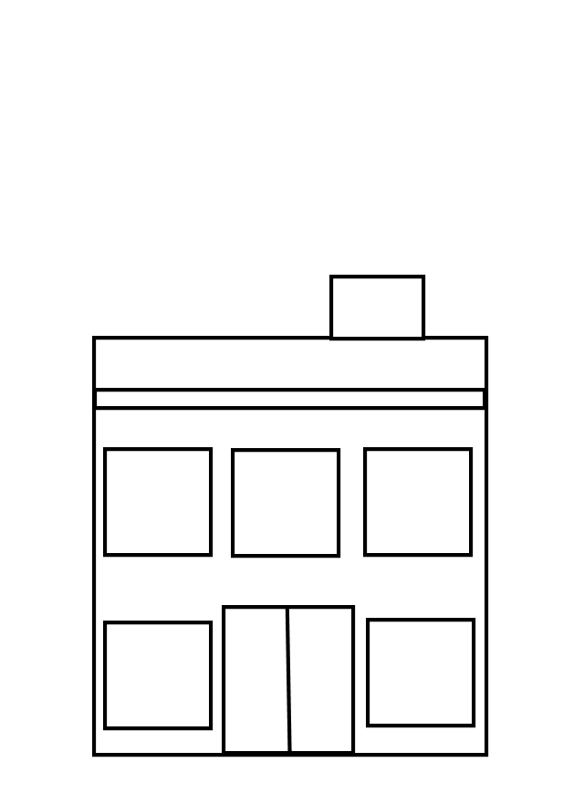 Building clipart black and white. Image of school