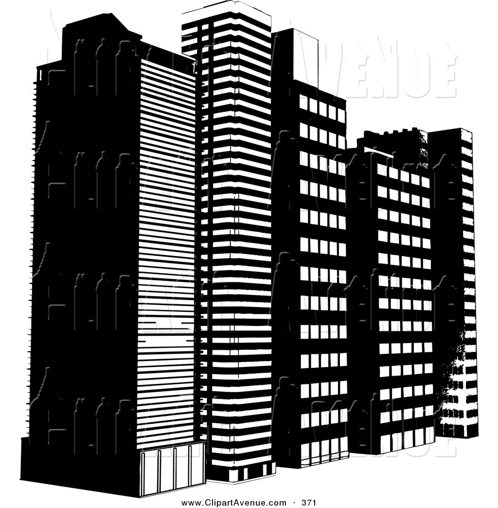 Building clipart black and white. Tall