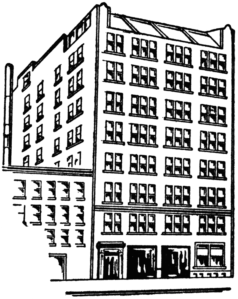 Building clipart black and white. New apartment clip art