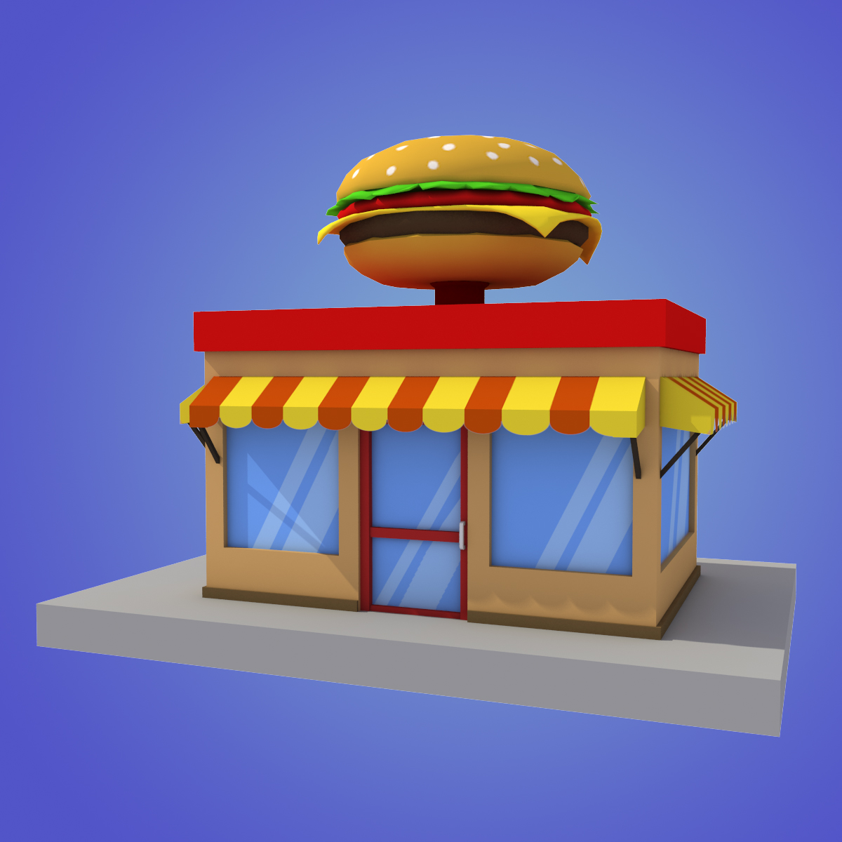 Building clipart burger. Cartoon house low poly