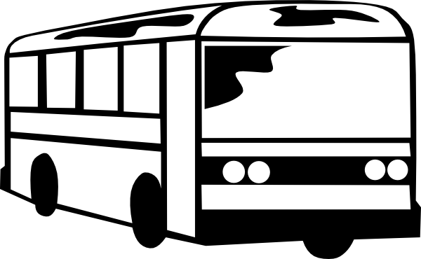 Building clipart bus. Black and white panda