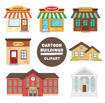 Building clipart cartoon. Buildings by mr guera