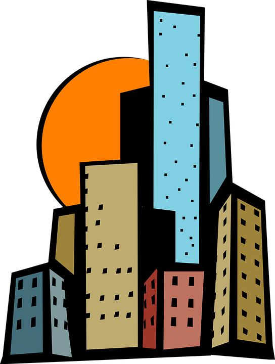 Building clipart cartoon. Tall city free download