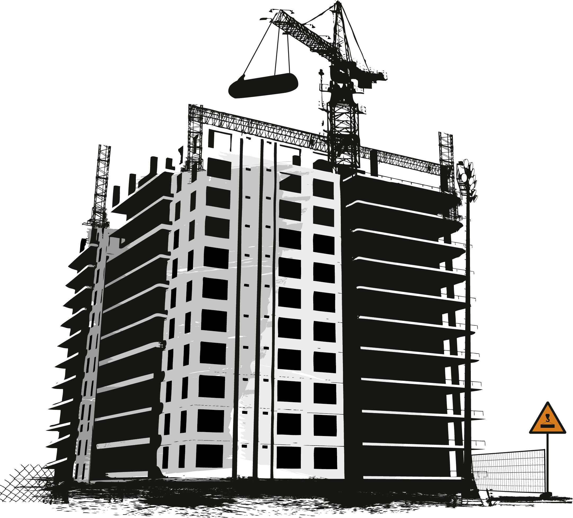 Engineering clip art construction. Transparent building architectural picture library