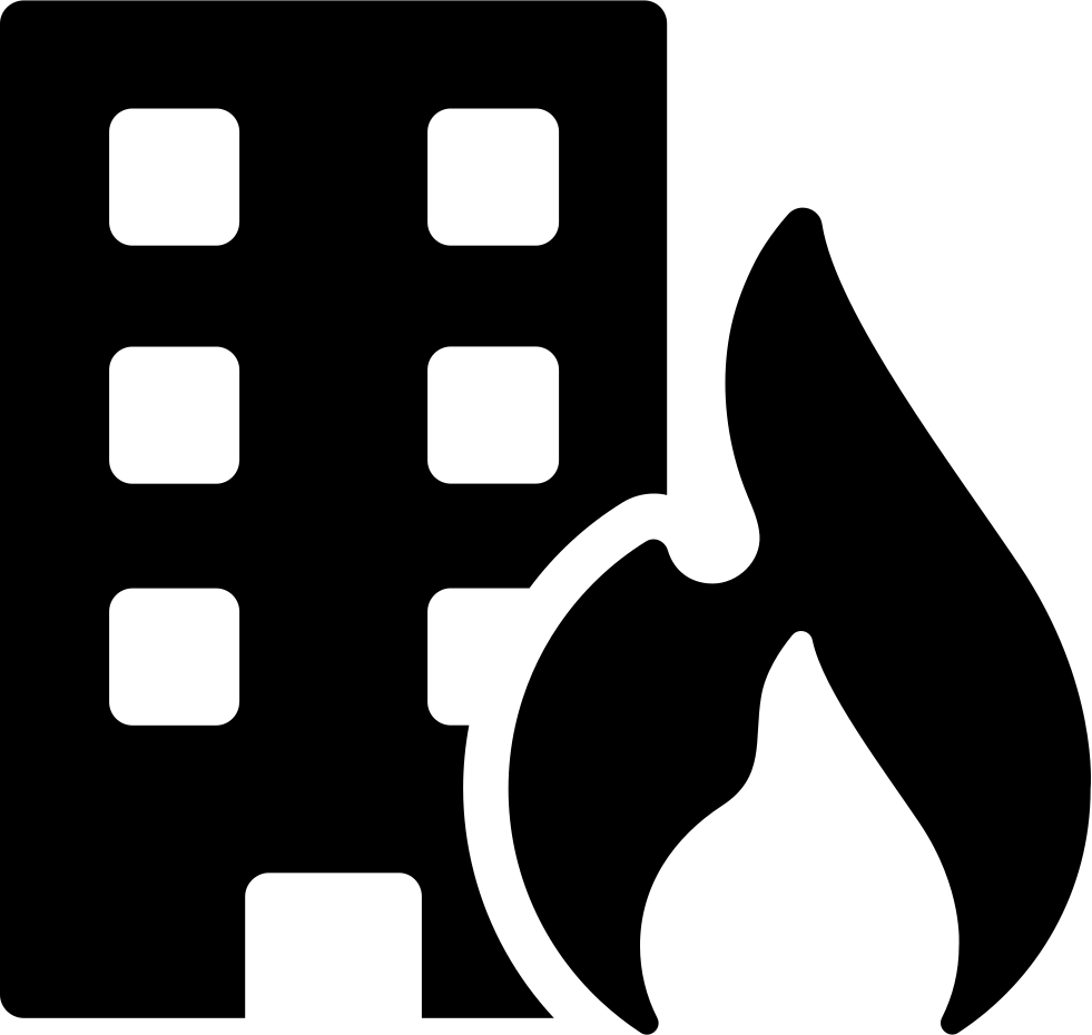 Building on fire png. Risk svg icon free