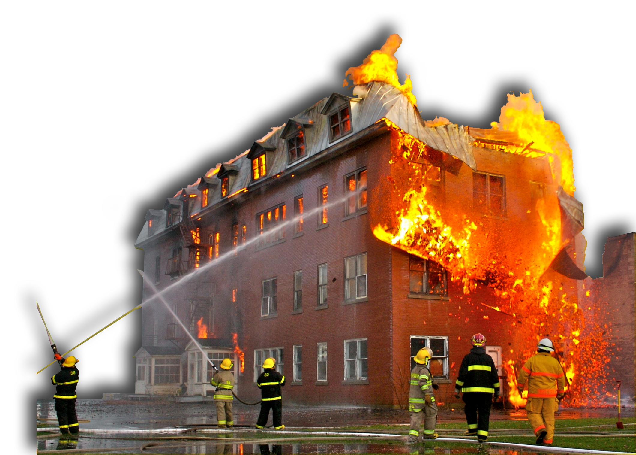 Building on fire png. Smoke and protection pointe
