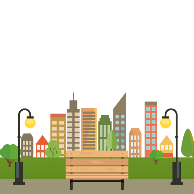 Building png vector. Colorful city with bench