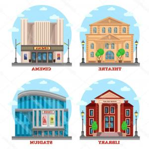 Buildings clipart cinema. Set of flat shop