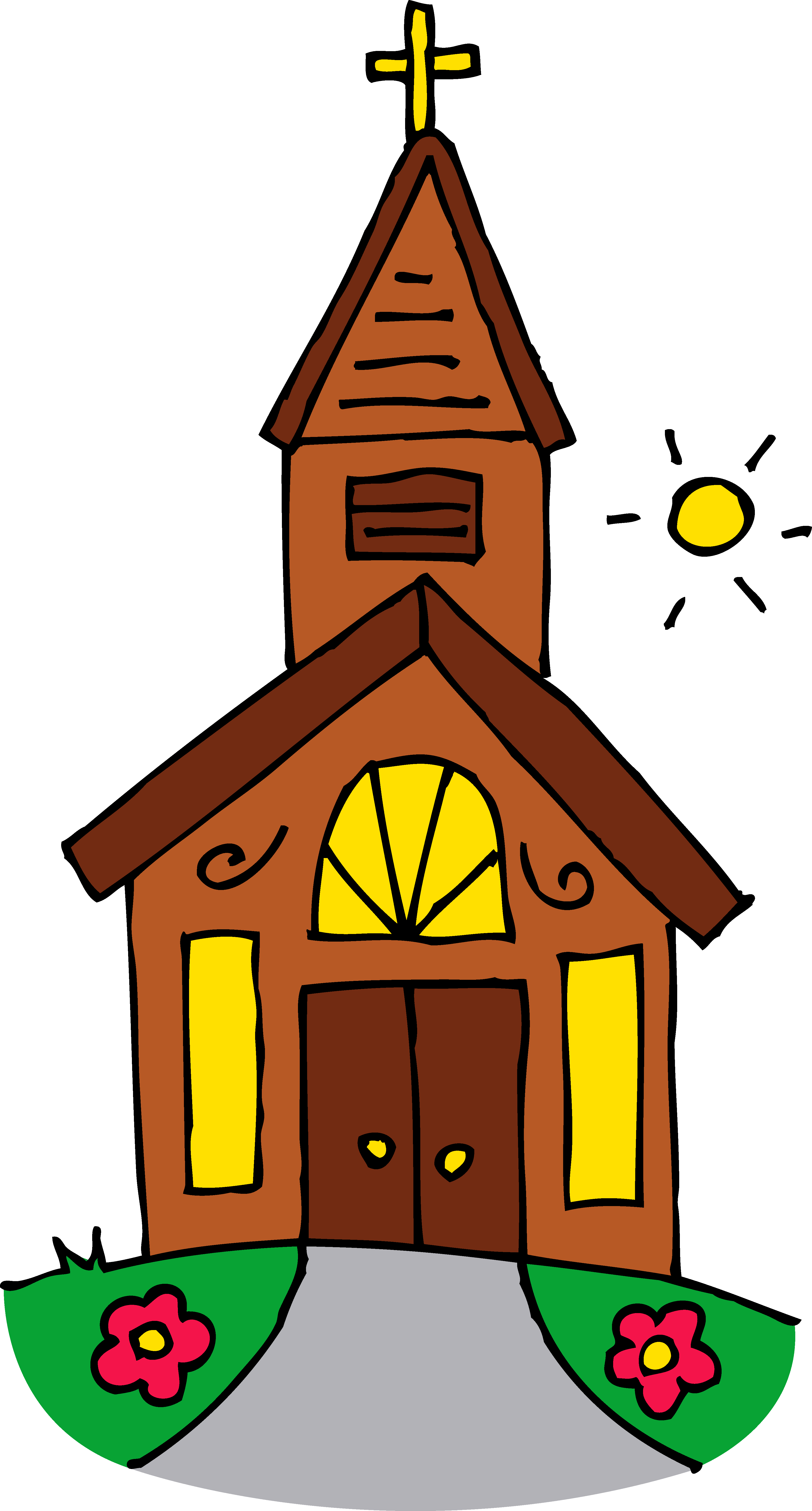 Buildings clipart colored. Little church on a