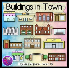 Buildings clipart town. Clip art color and