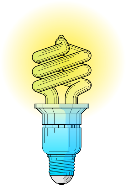 Bulb drawing animated. Compact fluorescent light clip