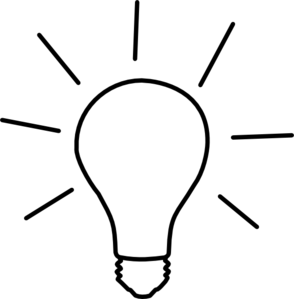 Bulb drawing black and white. Idea light clip art