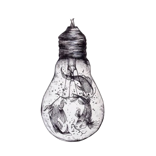 Ballpoint drawing creative. Paper pen illustration bulb