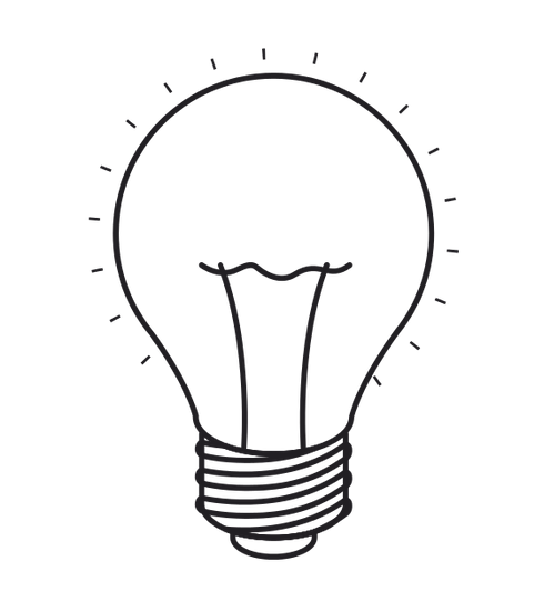 Bulb drawing design. Isolated and silhouette light