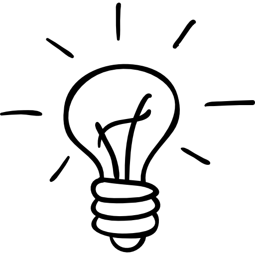 Bulb drawing icon. Light outlined hand drawn