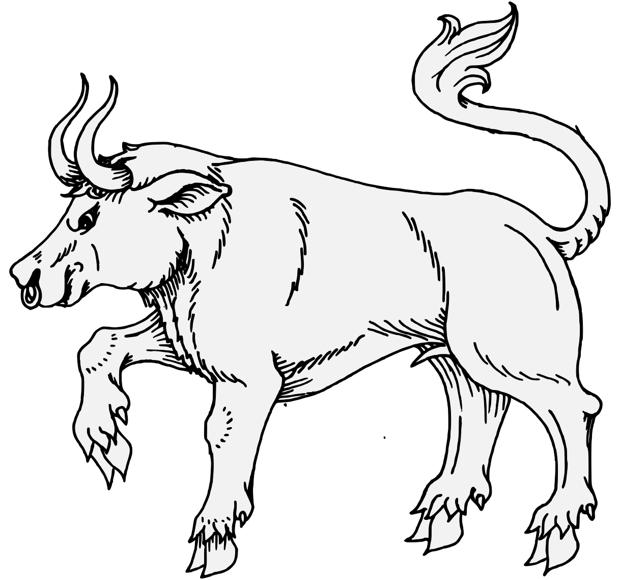 Vector bull kaalai. Traceable heraldic art passant