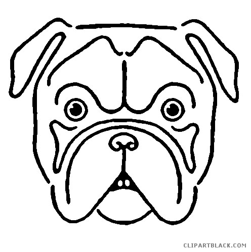 Clipartblack com animal free. Bulldog clipart face jpg black and white stock