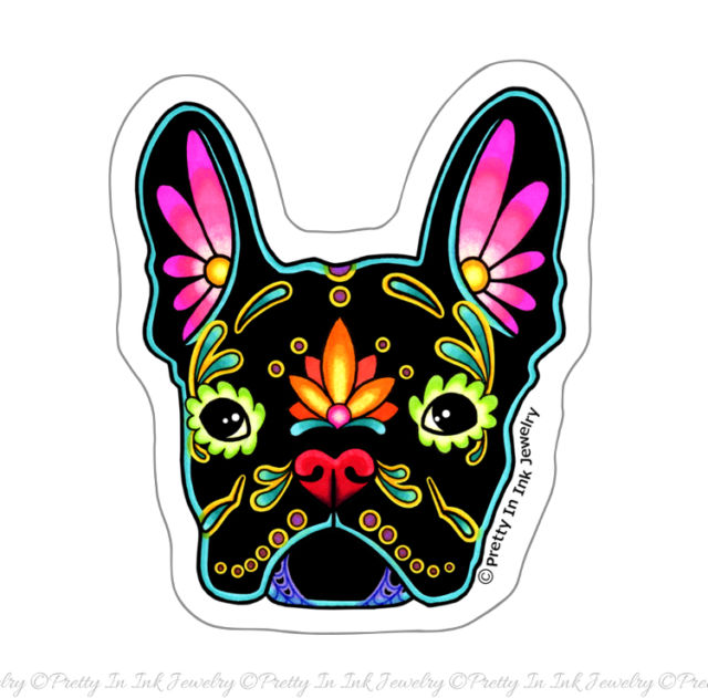 Bulldog clipart skull. French in black sticker