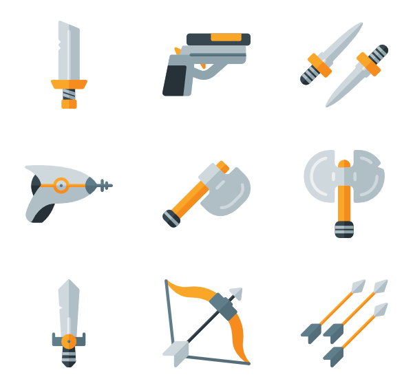 Vector point number bullet. Icons free weapon