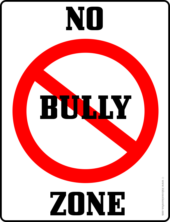 Bully drawing bullying quote. No zone poster prevent