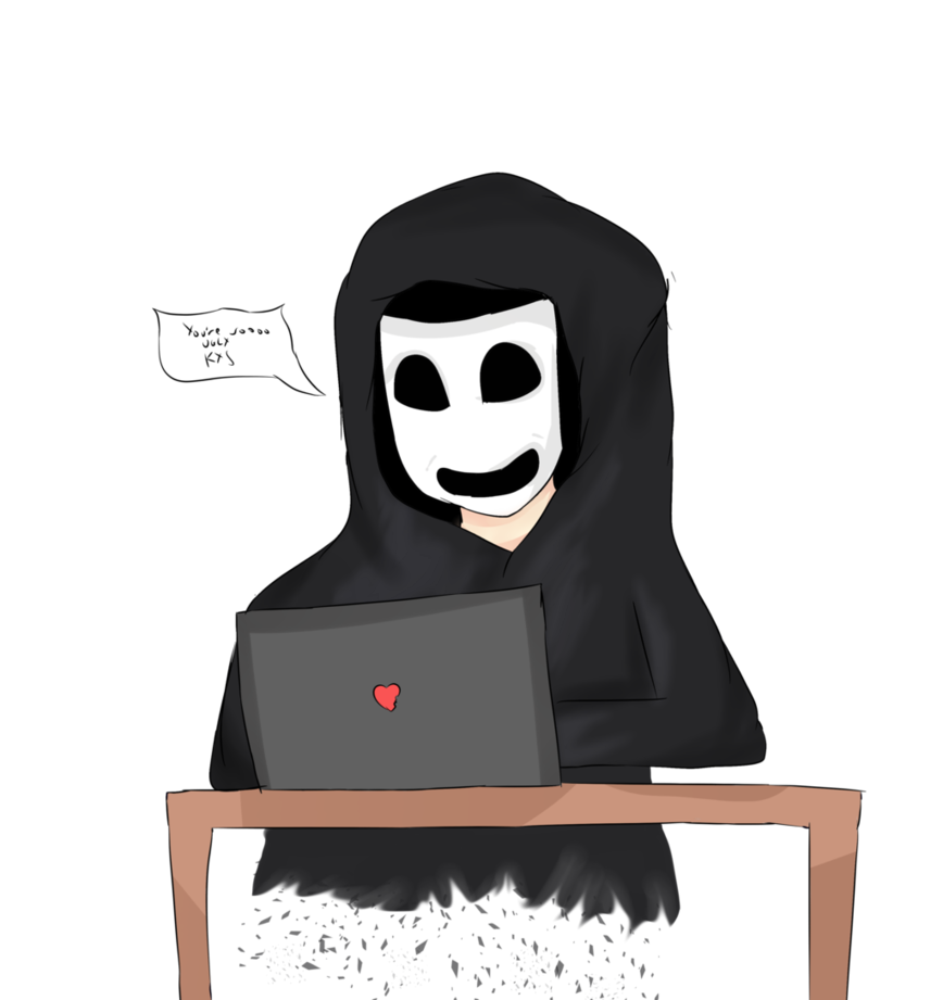 Shy drawing heartbreaking. Anonymous cyber bullying by