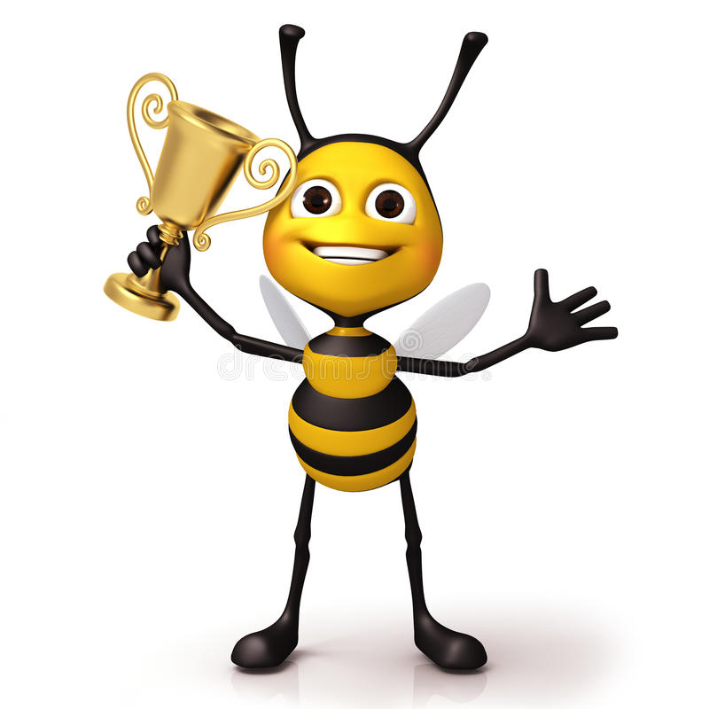Happy bee with stock. Bumblebee clipart trophy banner royalty free library