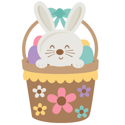 Easter in svg scrapbook. Bunny clipart basket graphic black and white library