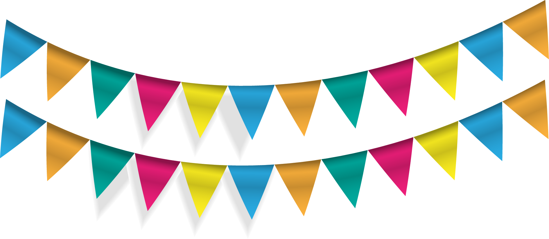 Party bunting png. Pennon flag banner vector
