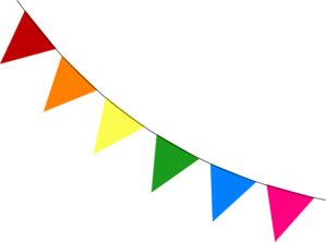 Bunting vector. Rainbow diagonal clip art