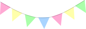 Bunting vector pastel. Green blue pink yellow