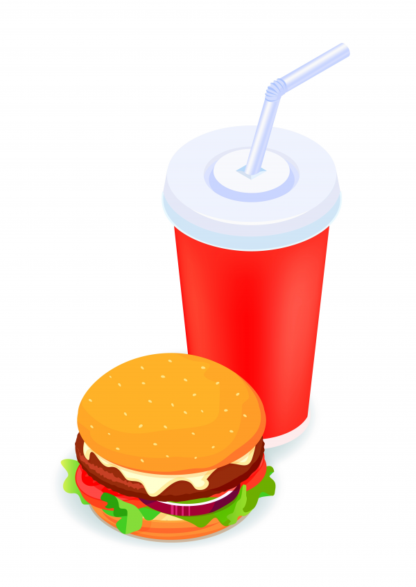 Burger and soda isometric illustrate 3d vector icon. D creative design